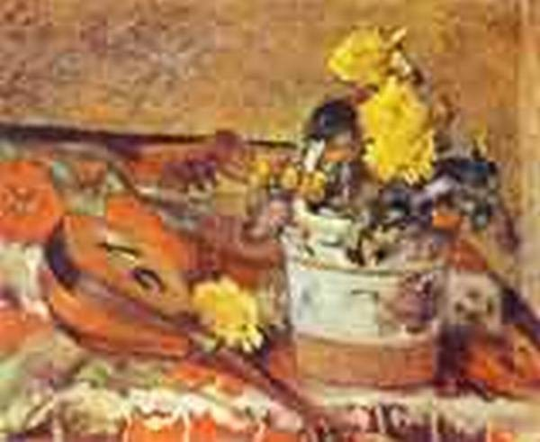 Mandolina and flowers 1883 private collection